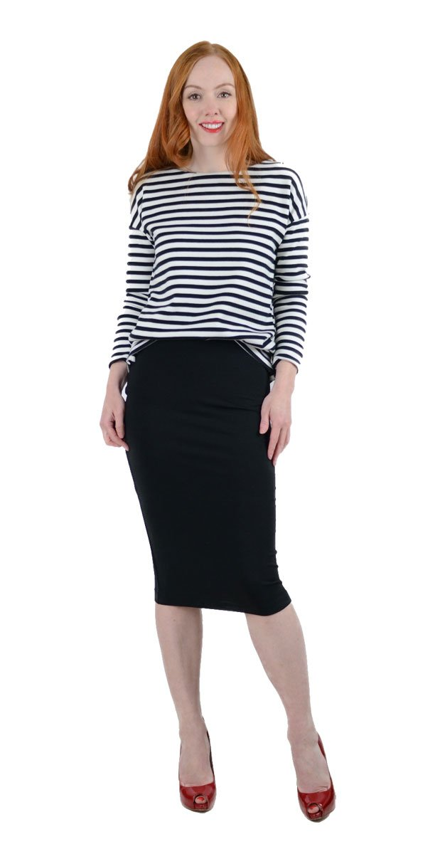 tucking a sweater into a skirt at the front only is an easy way to create the illusion of a waist