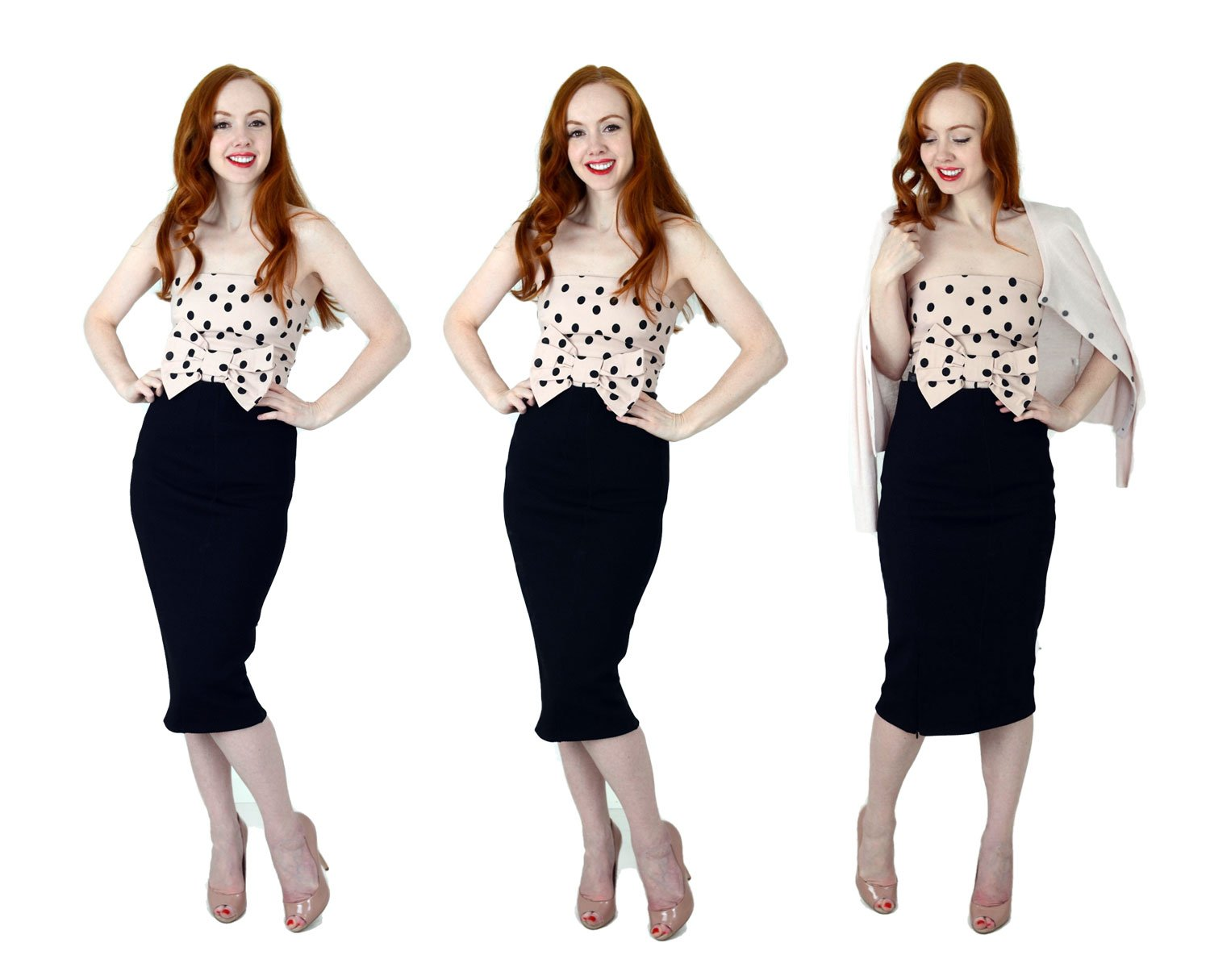 black pencil skirt and strapless top