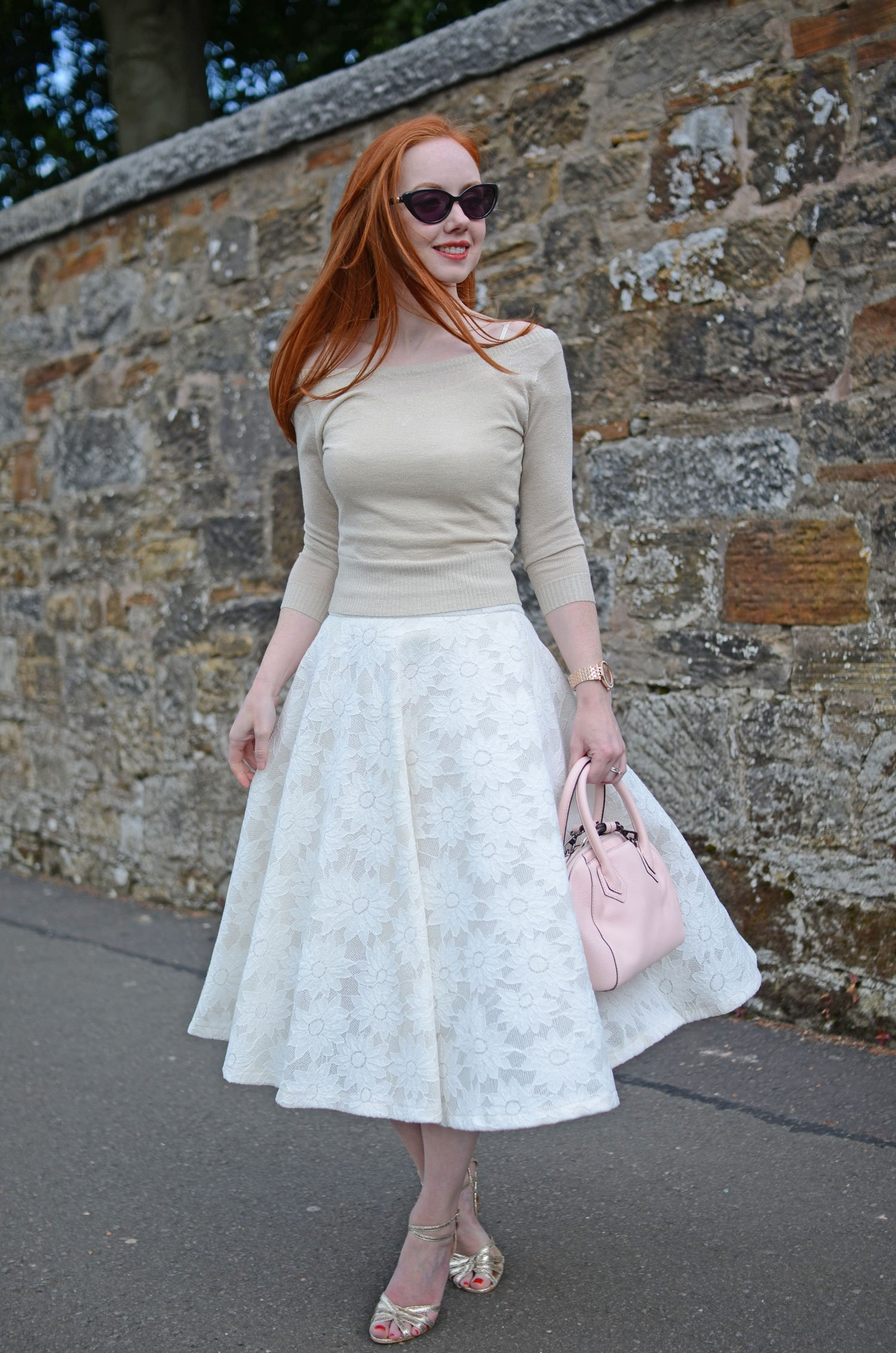 full white skirt with gold top
