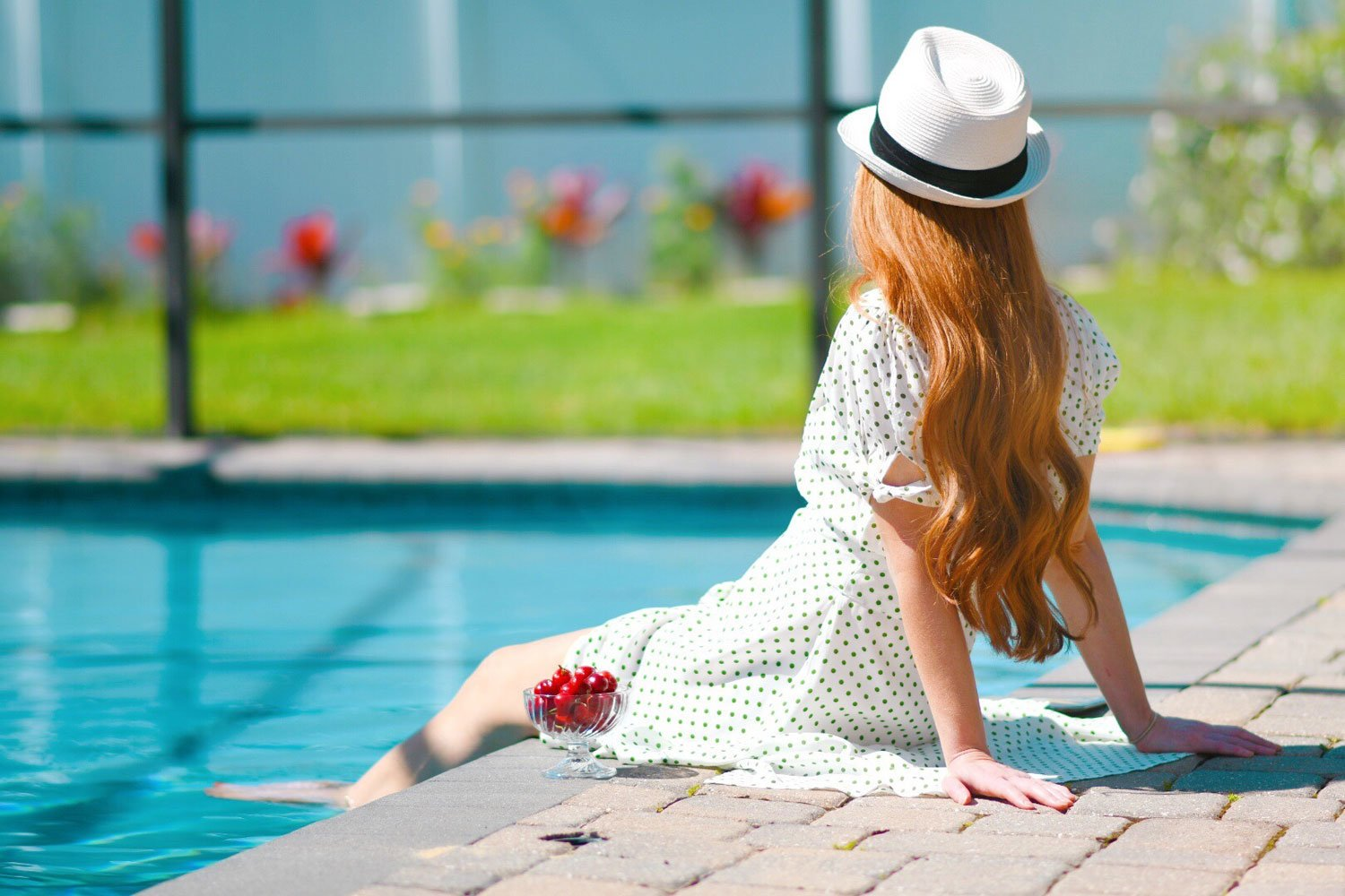 long red hair in the sunshine